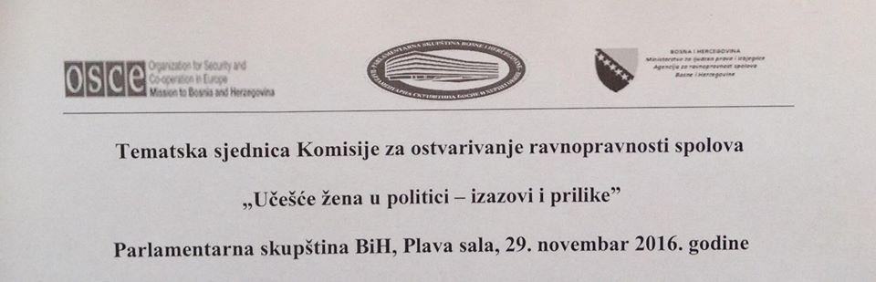 """Tematska sjednica """"Učešće žena u politici – izazovi i prilike"""""""