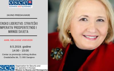 """Javno predavanje: """"Žensko liderstvo: Strateški imperativ prosperitetnog i mirnog svijeta"""""""