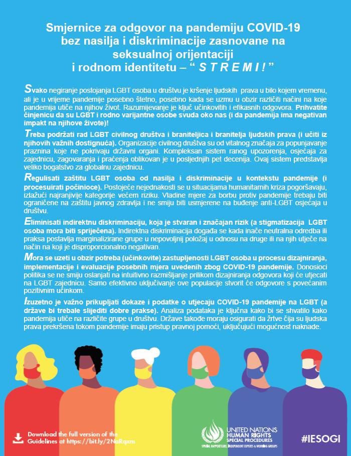 """Smjernice za odgovor na pandemiju COVID-19 bez nasilja i diskriminacije zasnovane na seksualnoj orijentaciji i rodnom identitetu – """" S T R E M I ! """""""