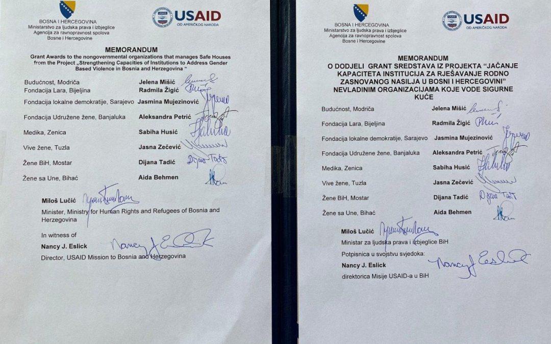 Potpisan Memorandum o dodjeli grant sredstava nevladinim organizacijama koje posjeduju sigurne kuće