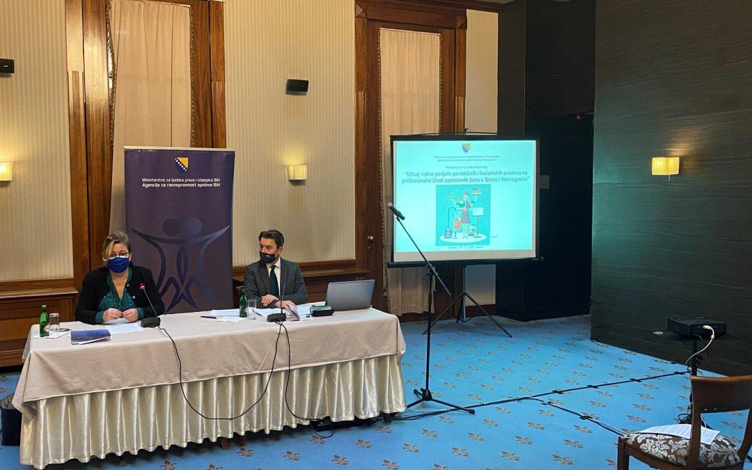 """Prezentacija istraživanja """"Uticaj rodne podjele porodičnih i kućanskih poslova na profesionalni život zaposlenih žena u BiH"""""""